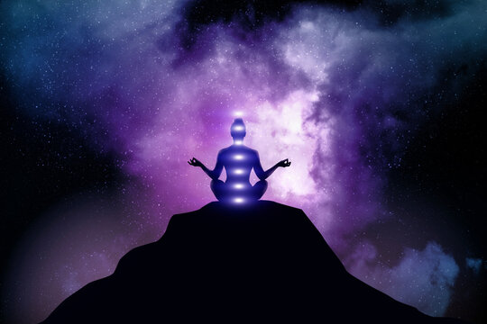 Woman meditates on outer space background.