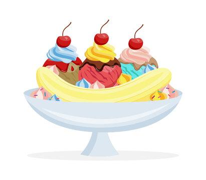 Banana split with sundae - sweet dessert, food for holiday event.