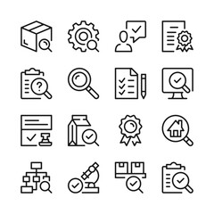 Obraz Quality control and inspection line icons set. Modern graphic design concepts, simple outline elements collection. Vector line icons - fototapety do salonu