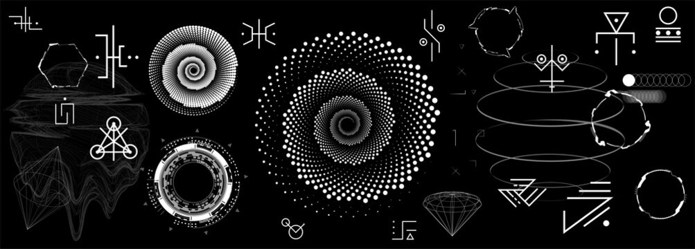 Fantasy abstract shapes in minimal style. Futuristic elements and astronomical bodies, alien signs, alchemical enigmatic symbols, 3D objects and futuristic shapes. Set of neo memphis. Vector set