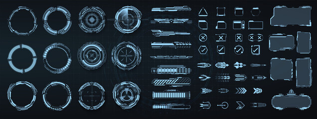 Fototapeta Circle Abstract digital technology UI, UX Futuristic HUD, FUI, Virtual Interface. Callouts titles and frame in Sci- Fi style. Bar labels, info call box bars. UI, UX, KIT game design elements. Vector obraz