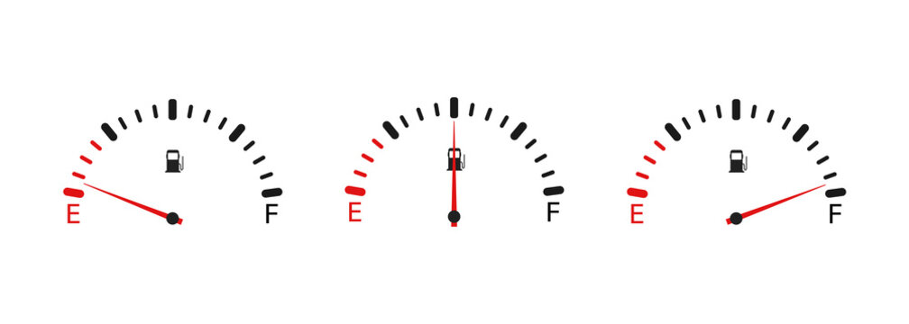 Fuel indicator icon . Fuel gauge. Car dashboard illustration . Vector.