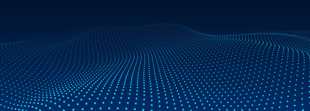 Abstract blue background of points. Cyber particles. Big data stream. Vector illustration