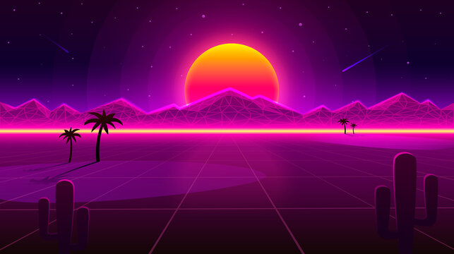Retro wave Desert neon cover with oasis and palm trees. Nature background. Vector