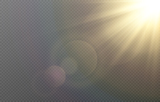 Vector golden light with glare. Sun, sun rays, dawn, glare from the sun png. Gold flare png, glare from flare png.