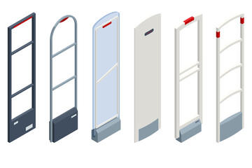 Isometric Anti Theft System. Eas Anti-theft Sensor Gate. Anti Theft Gates for Indoor. Preventing shoplifting scanner gate. Customer shopping store Monitoring management checkout - fototapety na wymiar
