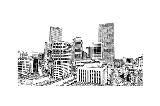 Building view with landmark of Denver is the  city in Colorado. Hand drawn sketch illustration in vector.