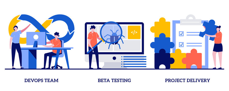 DevOps team, beta testing, project delivery concept with tiny people. Software development and technology analysis abstract vector illustration set. Programming teamwork, quality assurance metaphor