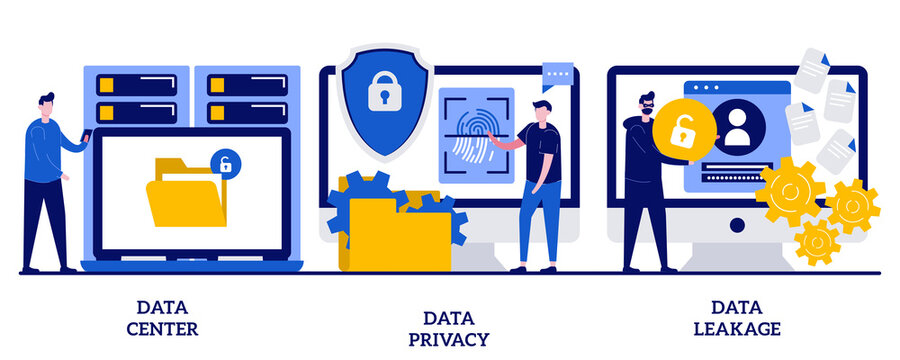 Data center, privacy and leakage concept with tiny people. Internet privacy abstract vector illustration set. Computer system, remote storage, database networking, security software, hacker metaphor