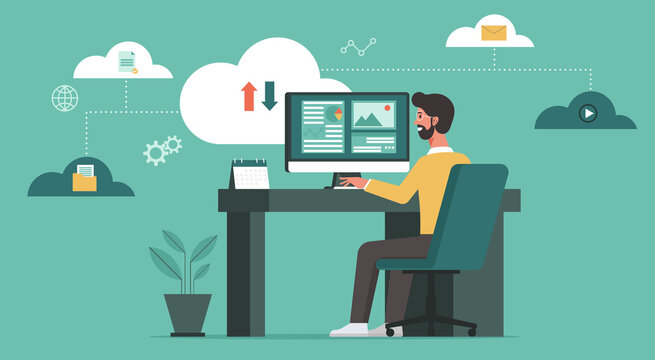 businessman using computer upload and download information and data on cloud computing technology network, work from home and anywhere, vector flat illustration
