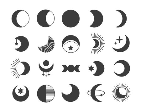 Black flat style icon set of moon. Mystic celestial signs