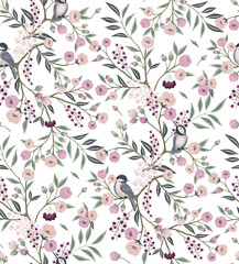 Wall Mural - Vector illustration of seamless floral pattern with little birds in spring for Wedding, anniversary, birthday and party. Design for invitation card, picture frame, poster, scrapbook