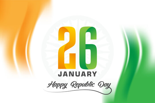 Happy Indian Republic Day background with abstract design elements and 26 January text logo symbol. vector illustration