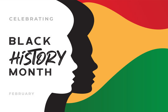 African-Americans history or black history month lettering with people silhouette on colorful background. Vector illustration