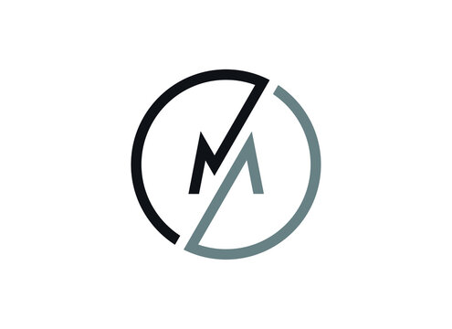 Letter M logo in a modern round geometric style. Vector design