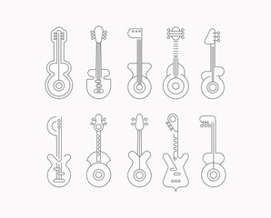 Set of line art silhouette isolated on a white background Modern Guitars vector design.