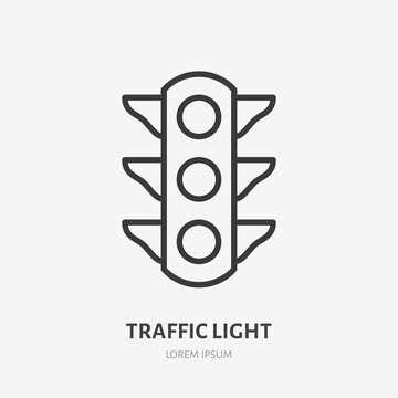 Traffic light flat line icon. Vector outline illustration of simple traficlight. Black color thin linear sign for stoplight traficlamp