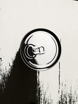 Black and white beer can from above