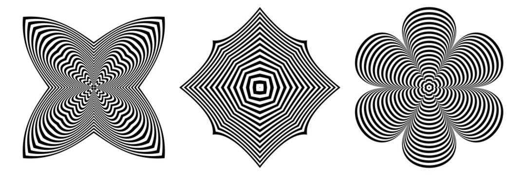Abstract op art design elements set. 3D illusion.