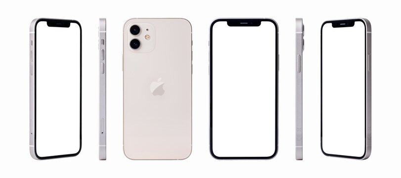 Antalya, Turkey - January 02, 2021: Newly released iphone 12 white color mockup set with different angles