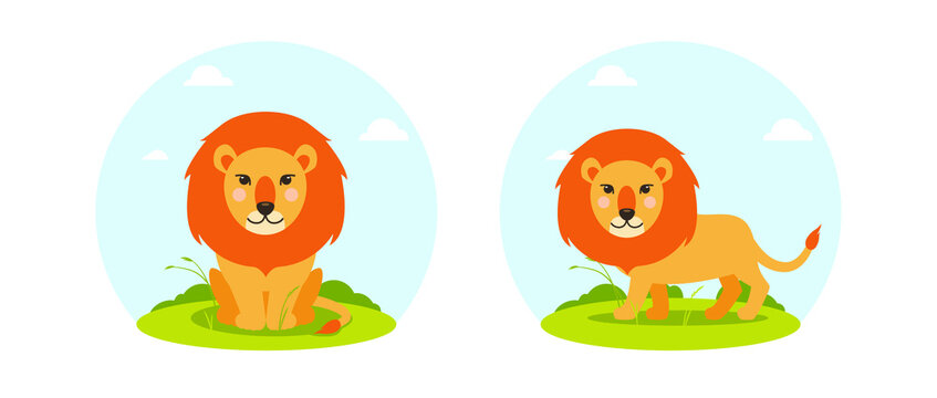Vector lion in flat cartoon style with landscape. Sitting and walking animal, front and side view. Cute children's illustration on white background. EPS10