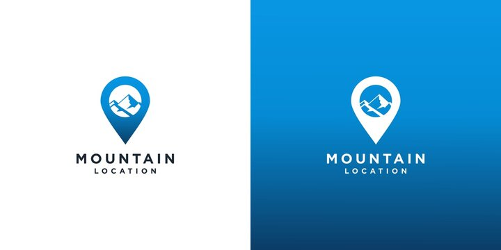 Mountain location logo design vector