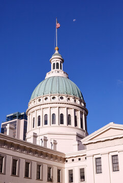 Close up of the dome of the St Louis County Courthouse at sunrise