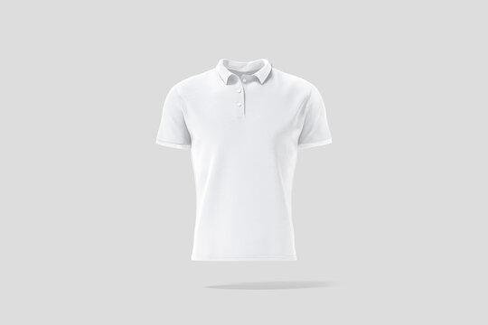 Blank white polo shirt mock up, gray backgound