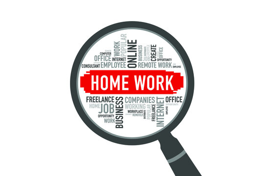 HOME WORK word cloud with magnifying