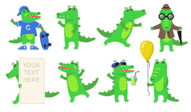 Various green crocodile characters flat icon set