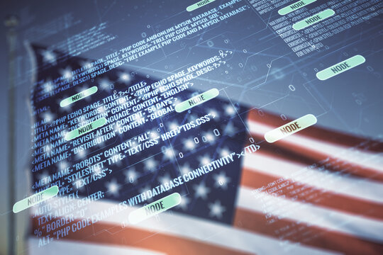 Double exposure of abstract creative programming illustration on US flag and blue sky background, big data and blockchain concept