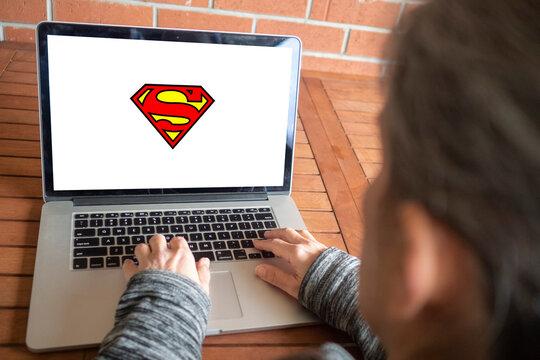 Superman logo editorial illustrative