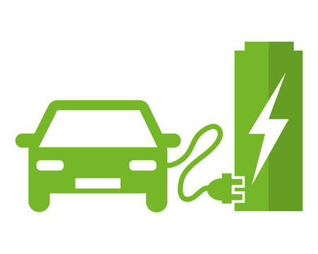 Electric car at the charging station. Green vector icon illustration pictogram.