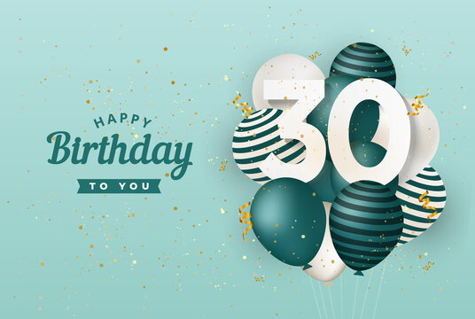 Happy 30th birthday with green balloons greeting card background. 30 years anniversary. 30th celebrating with confetti. Vector stock