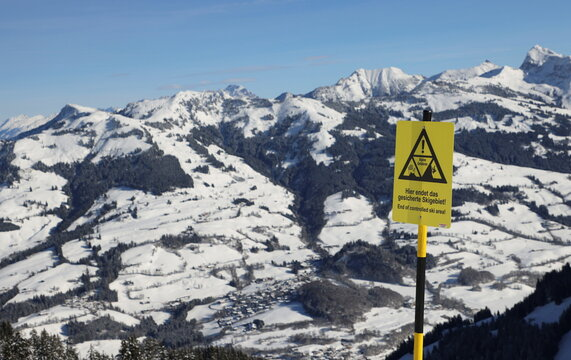 A warning sign is seen on the slope in Kitzbuehel