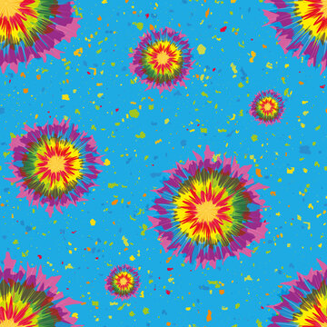 Holi festival inspired paint tie dye circles seamless vector pattern background. Irregular tropical color painterly spatter design on speckled confetti textured backdrop. Fun repeat for summer