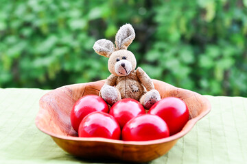 Easter red eggs and bunny