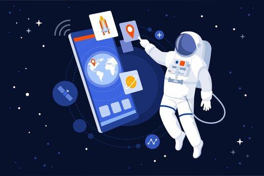 Astronaut using GPS navigation on his smartphone