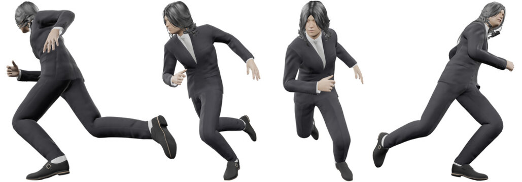 3d illustration The image of Asian men with long black hair wearing the best suit showing the gesture of running forward soaring with a determined expression With cutting path