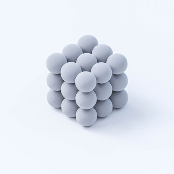 cube consisting out of white ball spheres on white background 3d render illustration