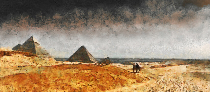 Pyramids in the sandy desert. Dark clouds in the sky. Artistic work on the theme of ancient architecture