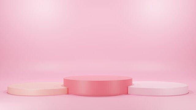 3D render pink love valentine abstract background product.Minimal geometry branding concept.Studio stand platform branding theme.