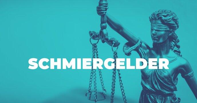 Schmiergelder. Close-up einer Justitia Statue. Duotone blau mit weißem Text. Symbol für Gerechtigkeit und Anwalt.