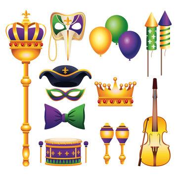 bundle of eleven mardi gras carnival celebration set icons