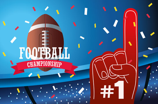 super bowl american football sport lettering with balloon and glove in stadium