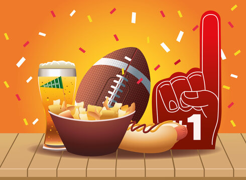 super bowl american football sport icons and fast food