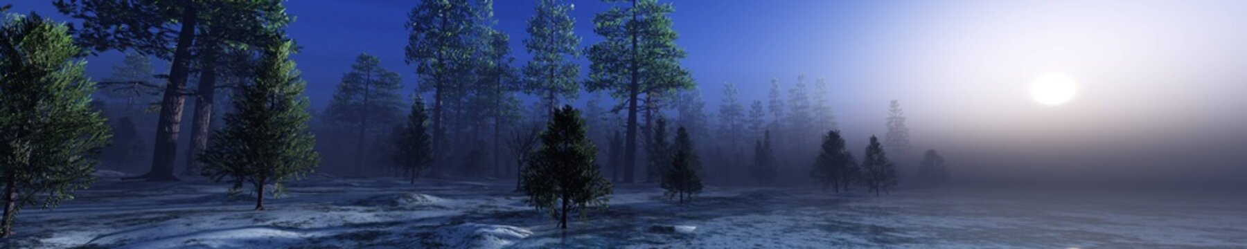 Forest over ice, River in the morning in fog, lake in haze, forest over frozen water in the sun, trees in fog over ice
