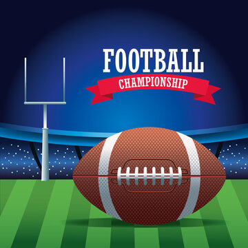super bowl american football sport lettering with balloon in stadium