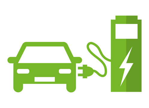 Electric car at the charging station. Green vector icon illustration pictogram III.