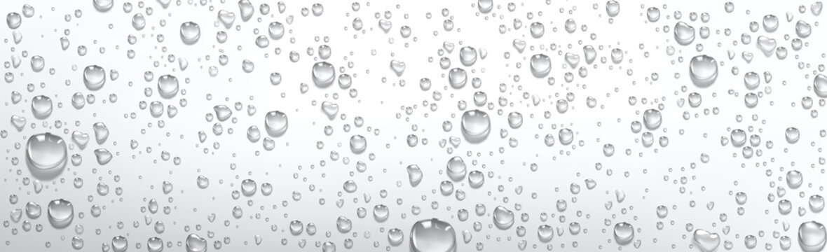 Condensation water drops on grey or silver background. Rain droplets with light reflection on window or glass surface, abstract wet texture, pure aqua blobs pattern, Realistic 3d vector illustration